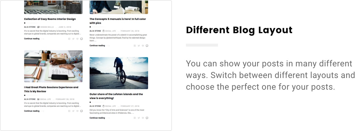 Alia – Minimal Personal Blog (Personal) different blog layout 2x