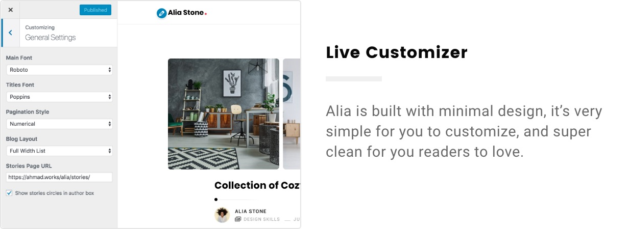 Alia – Minimal Personal Blog (Personal) live customizer 2x